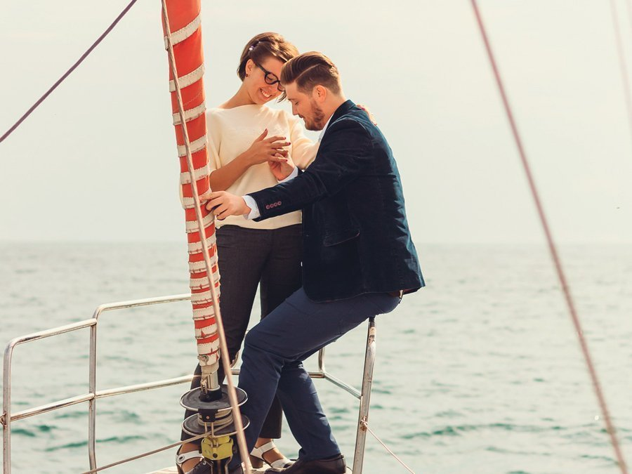 Marriage proposal on board